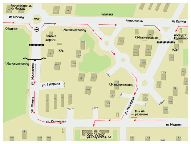 карта малоярославца с улицами